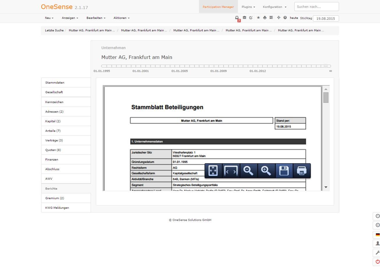 OneSense integrierter Report